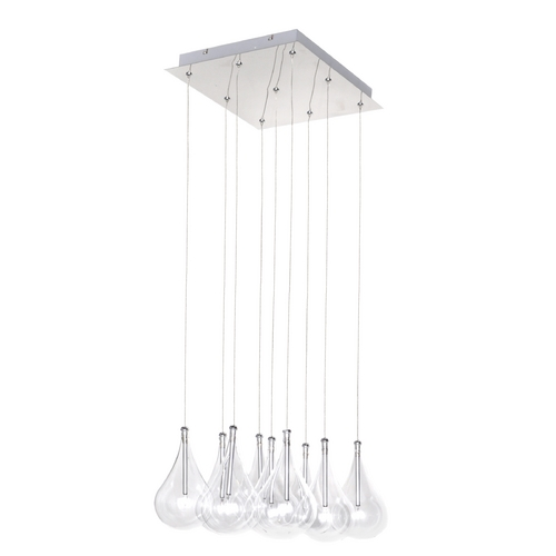 ET2 Lighting Modern Low Voltage Multi-Light Pendant Light with Clear Glass and 9-Lights E20116-18