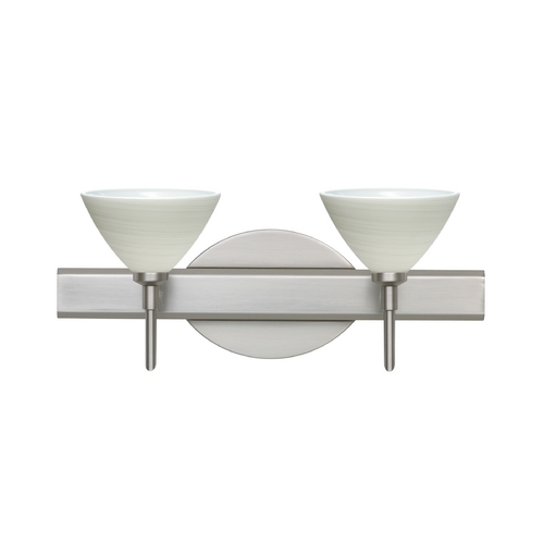 Besa Lighting Modern Bathroom Light with Grey Glass in Satin Nickel Finish 2SW-1743KR-SN