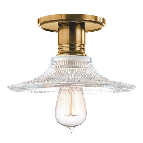Hudson Valley Lighting Semi-Flushmount Light with Clear Glass in Aged Brass Finish 8100-AGB-GS6
