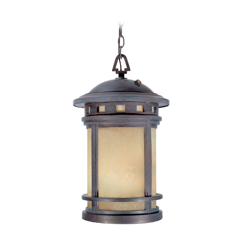 Designers Fountain Lighting Outdoor Hanging Light with Amber Glass in Mediterranean Patina Finish 2394-AM-MP