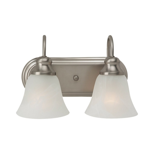 Sea Gull Lighting Bathroom Light with Alabaster Glass in Brushed Nickel Finish 44940-962