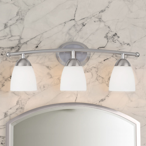 Design Classics Lighting Sylvan 3-Light Bathroom Light with White Glass in Satin Nickel 8943-09