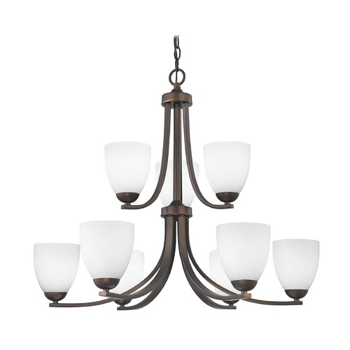 Design Classics Lighting Two Tier Bronze Chandelier with Satin White Glass and Nine Lights 586-220 GL1028MB