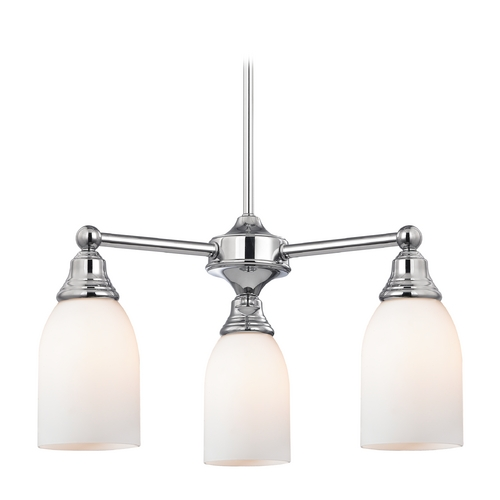 Design Classics Lighting Mini-Chandelier with White Glass in Chrome Finish 598-26 GL1024D