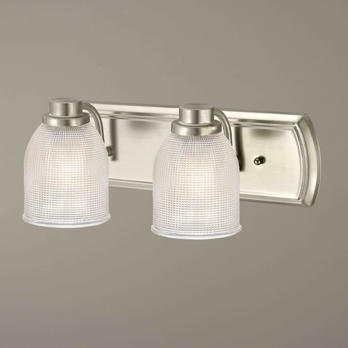 Design Classics Lighting 2-Light Vanity Light with Clear Prismatic Glass in Satin Nickel Finish 1202-09 GL1058-FC