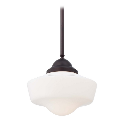 Minka Lavery Pendant Light with White Glass in Brushed Bronze Finish 2256-576