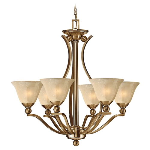 Hinkley Lighting Chandelier with Amber Glass in Brushed Bronze Finish 4656BR