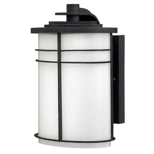 Hinkley Lighting Outdoor Wall Light with White Glass in Vintage Black Finish 1120VK-GU24
