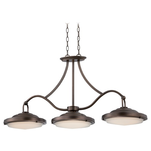 Nuvo Lighting LED Island Light with White Glass in Antique Brass Finish 62/174