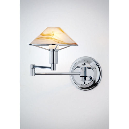 Holtkoetter Lighting Holtkoetter Modern Swing Arm Lamp with Alabaster Glass in Chrome Finish 9426 CH ABR