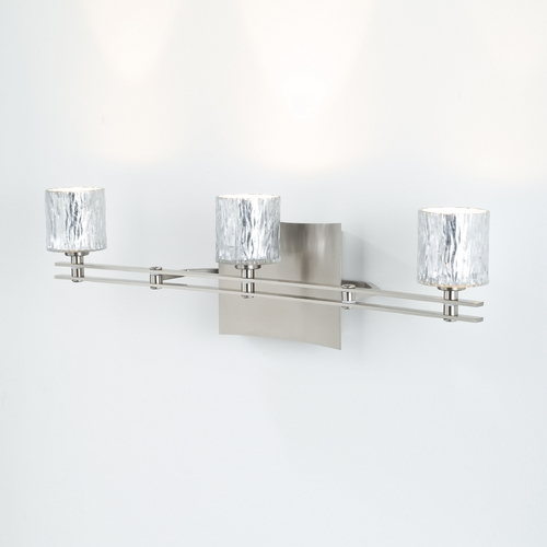 Holtkoetter Lighting Holtkoetter Modern Bathroom Light with Silver Glass in Satin Nickel Finish 5583 SN G5031
