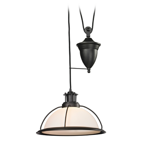 Elk Lighting Pendant Light with White Glass in Oil Rubbed Bronze Finish 55045/1