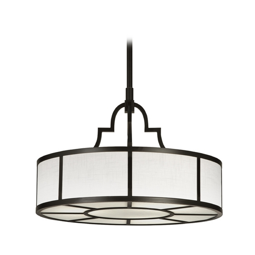 Fine Art Lamps Fine Art Lamps Black + White Story Black Satin Lacquer Pendant Light with Drum Shade 438540-6ST