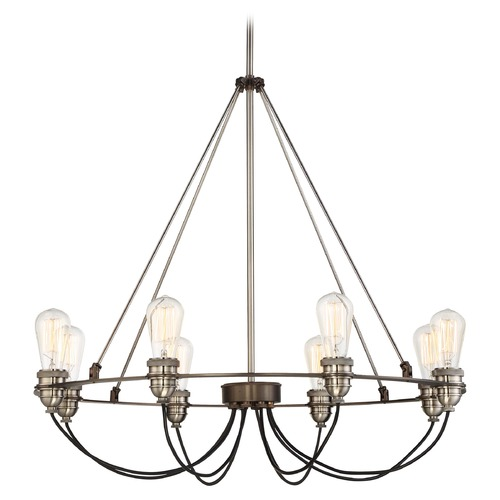 Minka Lavery Minka Uptown Edison Harvard Court Bronze with Pewter Chandelier 4458-784