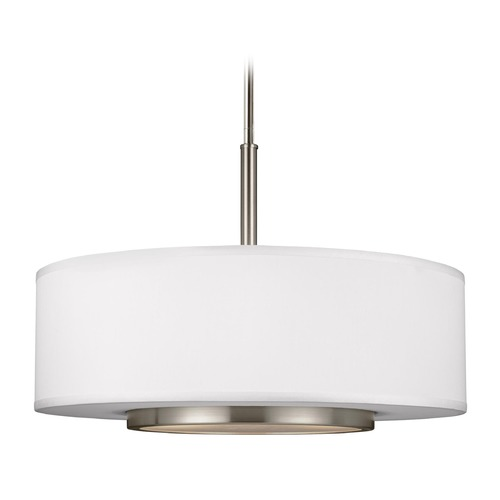 Sea Gull Lighting Sea Gull Lighting Nance Brushed Nickel Pendant Light with Drum Shade 6628003-962