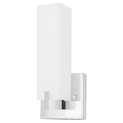 Kuzco Lighting Modern Chrome LED Sconce with White Opal Shade 3000K 500LM 601485CH-LED
