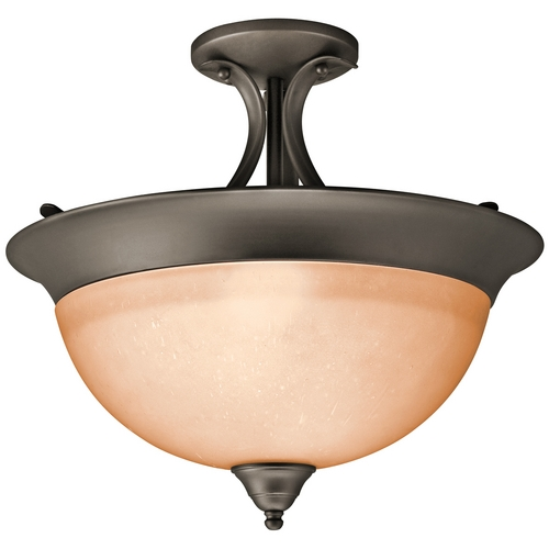 Kichler Lighting Kichler Semi-Flushmount Light with White Glass in Olde Bronze Finish 3623OZ