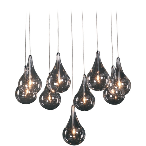 ET2 Lighting Modern Low Voltage Multi-Light Pendant Light with Clear Glass and 9-Lights E20115-18