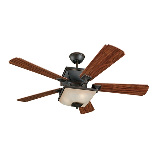 Monte Carlo Fans Ceiling Fan with Light and Amber Glass 5TQ52RBD-L