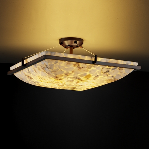 Justice Design Group Justice Design Group Alabaster Rocks! Collection Semi-Flushmount Light ALR-9781-25-DBRZ