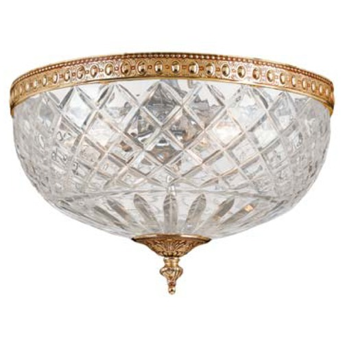 Crystorama Lighting Crystal Flushmount Light with Clear Glass in Olde Brass Finish 117-12-OB