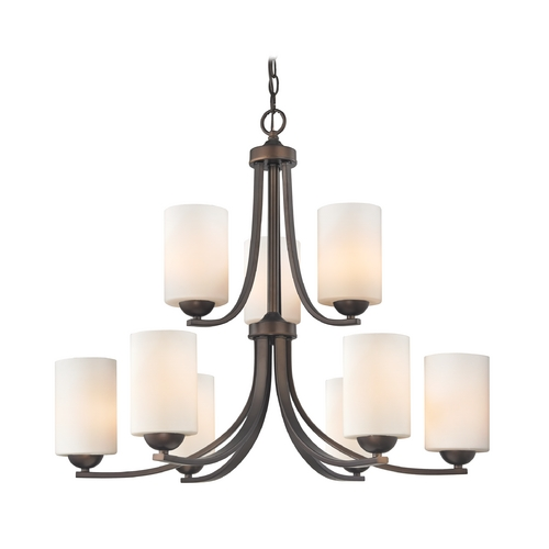 Design Classics Lighting 2-Tier 9-Light Chandelier with Opal White Cylinder Glass in Bronze 586-220 GL1024C