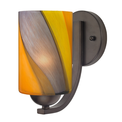 Design Classics Lighting Sconce with Art Glass in Bronze Finish 585-220 GL1015C