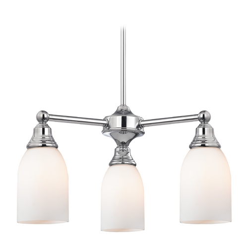 Design Classics Lighting Mini-Chandelier with White Glass in Chrome Finish 598-26 GL1028D