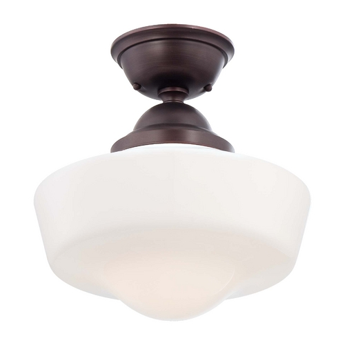 Minka Lavery Semi-Flushmount Light with White Glass in Brushed Bronze Finish 2257-576