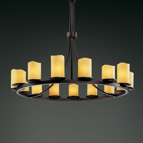 Justice Design Group Justice Design Group Candlearia Collection Chandelier CNDL-8715-14-AMBR-DBRZ