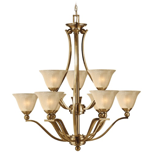 Hinkley Lighting Hinkley Bolla 9-Light Chandelier with Amber Glass in Brushed Bronze 4657BR