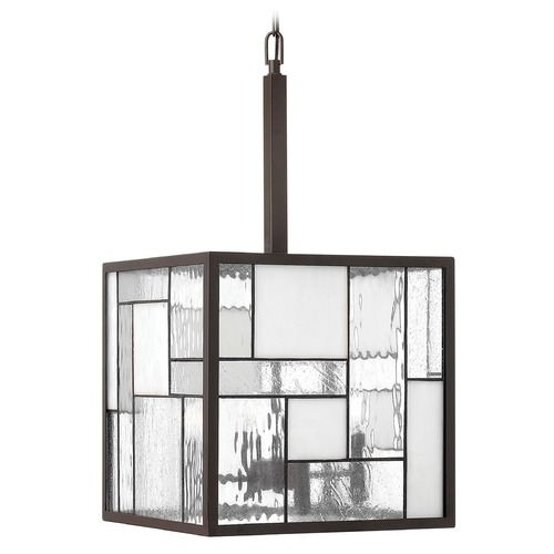 Hinkley Lighting Pendant Light with Copper Glass in Buckeye Bronze Finish 4574KZ