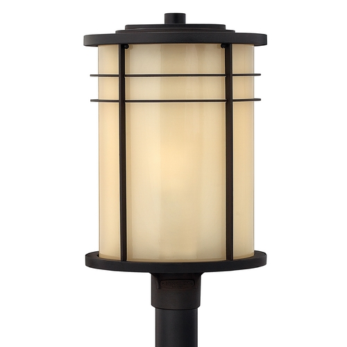 Hinkley Lighting Post Light with Beige / Cream Glass in Museum Bronze Finish 1121MR-GU24