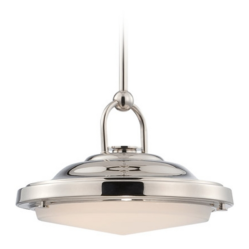 Nuvo Lighting LED Pendant Light with White Glass in Polished Nickel Finish 62/175