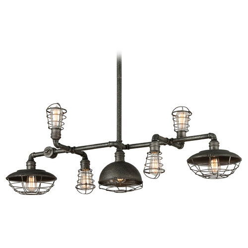 Troy Lighting Troy Lighting Conduit Old Silver Island Light with Bowl / Dome Shade F3819