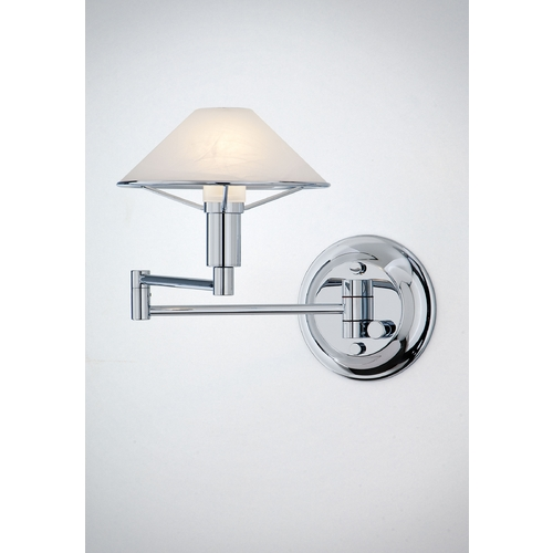 Holtkoetter Lighting Holtkoetter Modern Swing Arm Lamp with Alabaster Glass in Chrome Finish 9426 CH AWH