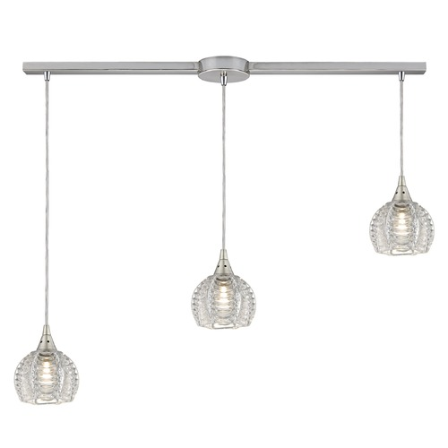 Elk Lighting Elk Lighting Kersey Satin Nickel Multi-Light Pendant with Bowl / Dome Shade 10455/3L