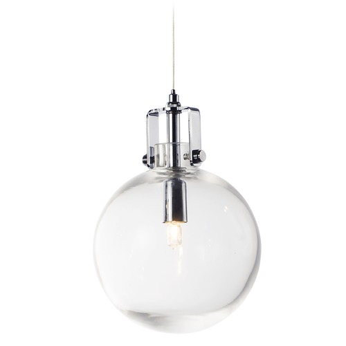 ET2 Lighting ET2 Kem Polished Chrome Mini-Pendant Light with Globe Shade E24302-18PC
