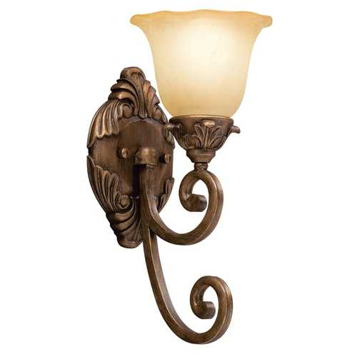 Kichler Lighting Kichler Sconce Wall Light with Amber Shade in Parisian Bronze Finish 6898PRZ