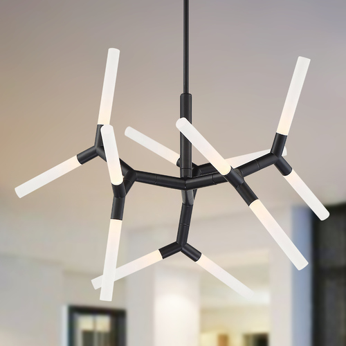 Modern Forms by WAC Lighting Modern Forms Isotope Black LED Pendant Light 3000K 1064LM PD-77932-BK