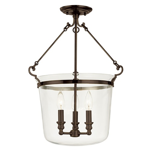 Hudson Valley Lighting Semi-Flushmount Light with Clear Glass in Old Bronze Finish 132-OB