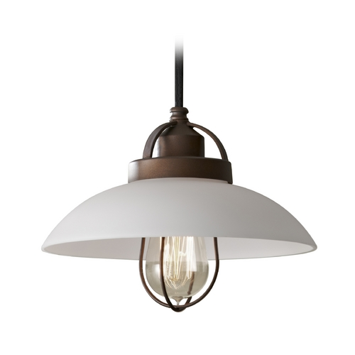Feiss Lighting Mini-Pendant Light with White Glass P1241BZP