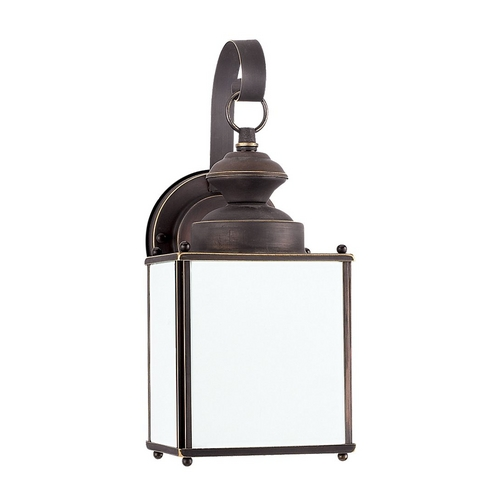 Sea Gull Lighting Outdoor Wall Light with White Glass in Antique Bronze Finish 84157D-71