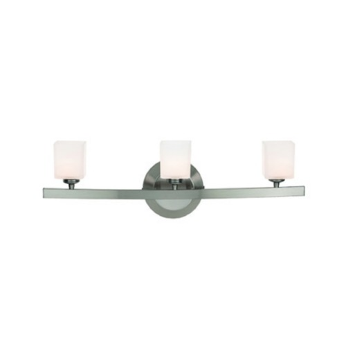 Access Lighting Modern Bathroom Light with White Glass in Matte Chrome Finish 63813-18-MC/OPL