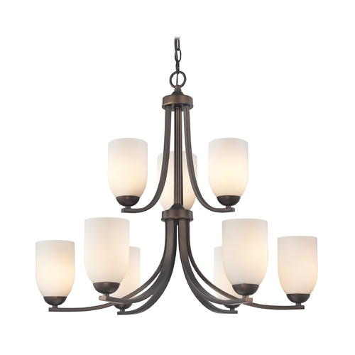 Design Classics Lighting 2-Tier 9-Light Chandelier with Opal White Glass in Bronze 586-220 GL1024D