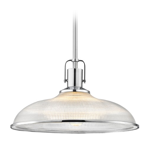 Design Classics Lighting Chrome Nautical Pendant Light Prismatic Glass 14.38-Inch Wide 1762-26 G1781-FC R1781-26