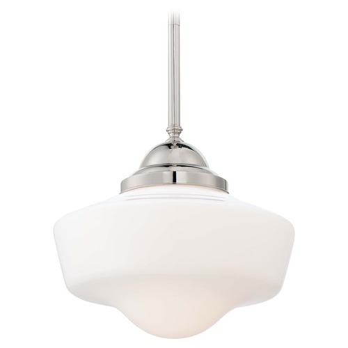 Minka Lavery Pendant Light with White Glass in Polished Nickel Finish 2256-613