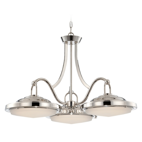 Nuvo Lighting LED Pendant Light with White Glass in Polished Nickel Finish 62/176