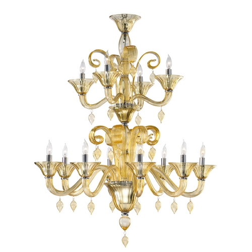 Cyan Design Cyan Design Treviso Chrome with Amber Chandelier 6493-12-14