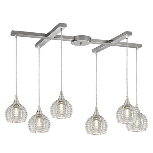 Elk Lighting Elk Lighting Kersey Satin Nickel Multi-Light Pendant with Bowl / Dome Shade 10455/6